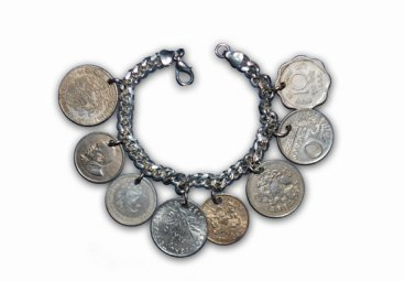 Silver Foreign Coin Bracelet